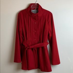 Steve Madden Red Button Up Jacket With Tie